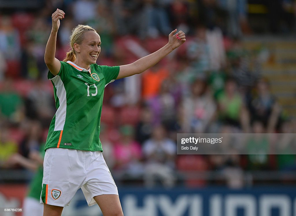 Dublin , Ireland - 7 June 2016; Stephanie Roche of Republic of Ireland celebrates after scoring her third, and her team's eighth goal of the match during the Women's 2017 European Championship Qualifier between Republic of Ireland and Montenegro in Tallaght Stadium, Tallaght, Co. Dublin.