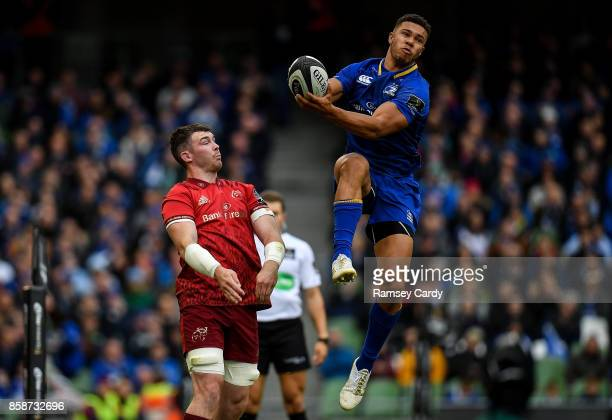 Dublin Ireland 7 October 2017 Adam Byrne of Leinster in action against Peter OMahony of Munster during the Guinness PRO14 Round 6 match between...