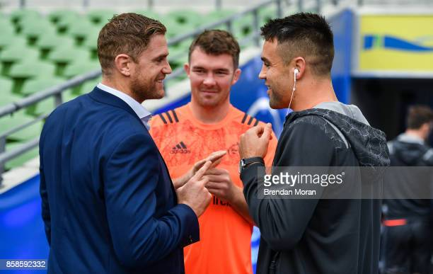 Dublin Ireland 7 October 2017 Jamie Heaslip of Leinster left with Peter OMahony centre and Conor Murray of Munster prior to the Guinness PRO14 Round...