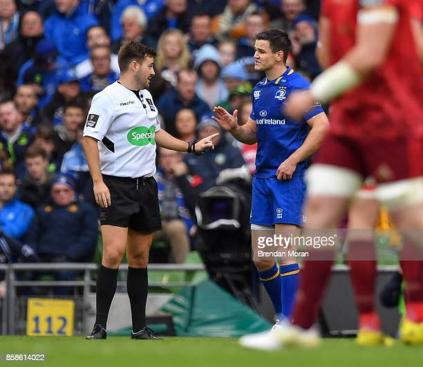 Dublin Ireland 7 October 2017 Jonathan Sexton of Leinster speaks to referee Ben Whitehouse after Munster's first try which was subsequently...