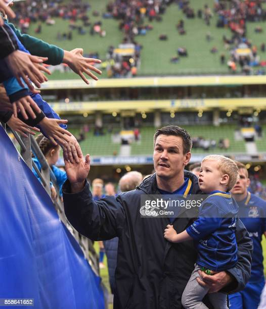 Dublin Ireland 7 October 2017 Jonathan Sexton of Leinster walks off the pitch with his son Luca Sexton during the Guinness PRO14 Round 6 match...