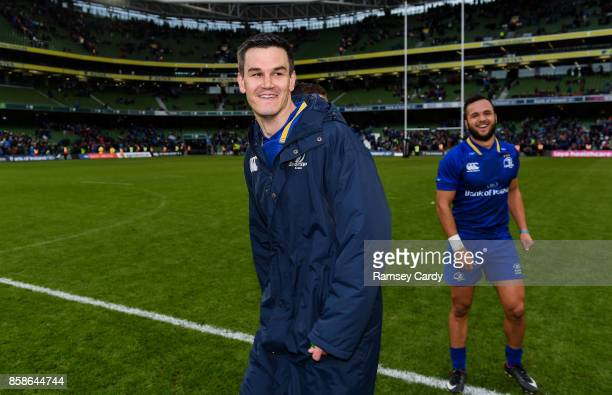 Dublin Ireland 7 October 2017 Leinster's Jonathan Sexton left and Jamison GibsonPark following the Guinness PRO14 Round 6 match between Leinster and...