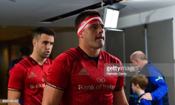 Dublin Ireland 7 October 2017 Munster's CJ Stander right and Conor Murray ahead of the Guinness PRO14 Round 6 match between Leinster and Munster at...