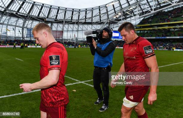 Dublin Ireland 7 October 2017 Munster's Keith Earls left and CJ Stander following their defeat in the Guinness PRO14 Round 6 match between Leinster...