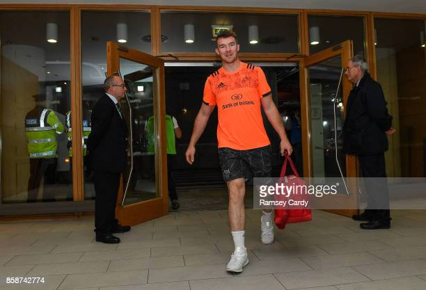 Dublin Ireland 7 October 2017 Munster's Peter OMahony arrives ahead of the Guinness PRO14 Round 6 match between Leinster and Munster at the Aviva...