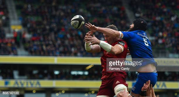 Dublin Ireland 7 October 2017 Peter OMahony of Munster in action against Scott Fardy of Leinster during the Guinness PRO14 Round 6 match between...