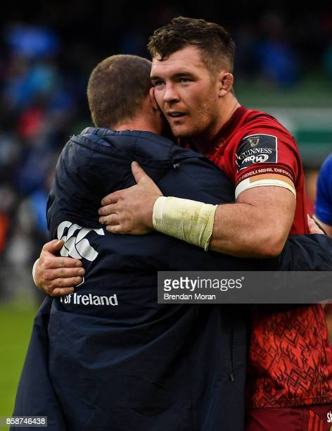 Dublin Ireland 7 October 2017 Peter OMahony of Munster with Jack McGrath of Leinster after the Guinness PRO14 Round 6 match between Leinster and...