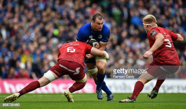 Dublin Ireland 7 October 2017 Rhys Ruddock of Leinster in action against Peter OMahony of Munster during the Guinness PRO14 Round 6 match between...