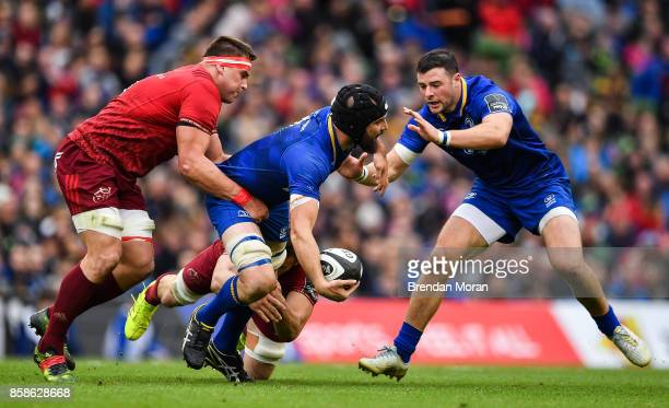 Dublin Ireland 7 October 2017 Scott Fardy of Leinster is tackled by CJ Stander of Munster during the Guinness PRO14 Round 6 match between Leinster...