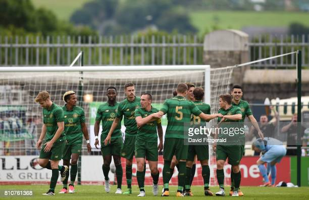 Dublin Ireland 8 July 2017 Celtic players celbrate after Tom Rogic scored their side's first goal during the friendly match between Shamrock Rovers...