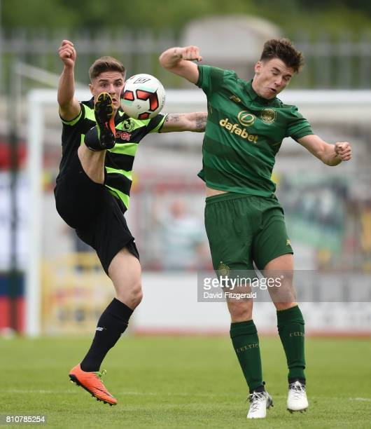 Dublin Ireland 8 July 2017 Dean Carpenter of Shamrock Rovers in action against Kieran Tierney of Celtic during the friendly match between Shamrock...