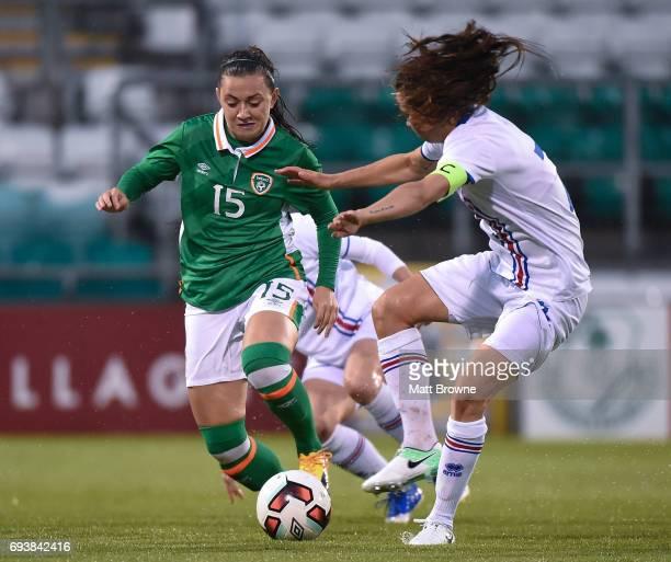 Dublin Ireland 8 June 2017 Katie McCabe of Republic of Ireland in action against Sara Bjork Gunnarsdottir of Iceland during the Women's International...