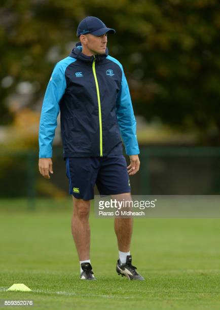 Dublin Ireland 9 October 2017 Leinster backs coach Girvan Dempsey during squad training at Thornfields in UCD Belfield Dublin