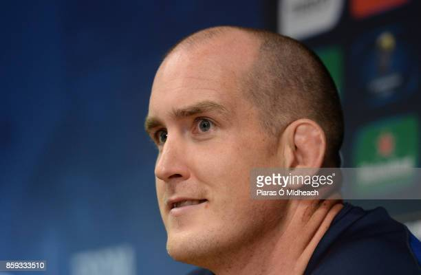 Dublin Ireland 9 October 2017 Leinster's Devin Toner during a press conference at Leinster Rugby HQ in UCD Belfield Dublin