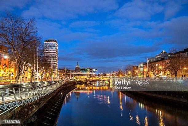 Dublin Liffey River at night