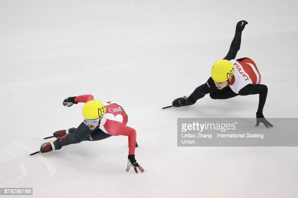 Dubois Steven of Canada and Roberts Zvejnieks of Latvia compete in the Men's 777m final duirng the 2017 Shanghai Trophy at the Oriental Sports Center...