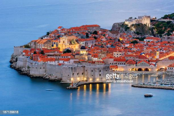 Dubrovnik city skyline at dawn, Dalmatia, Croatia