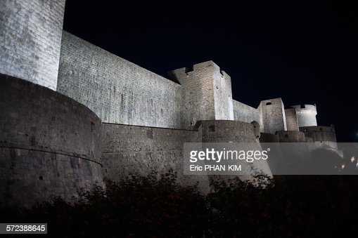 Dubrovnik city walls by night, Croatia