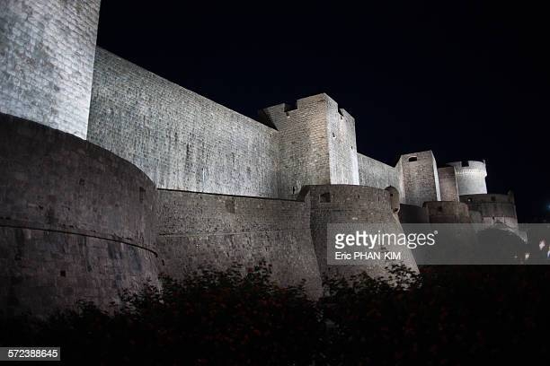 Dubrovnik city walls by night, Croatia
