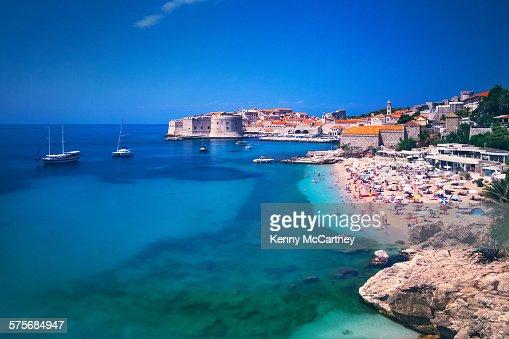 Dubrovnik, Croatia - old town beach & harbour