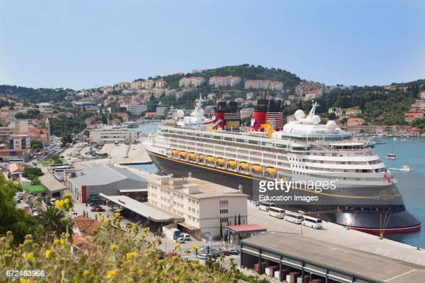 Dubrovnik Dalmatia Croatia The Disney Magic cruise ship docked in the cruise port