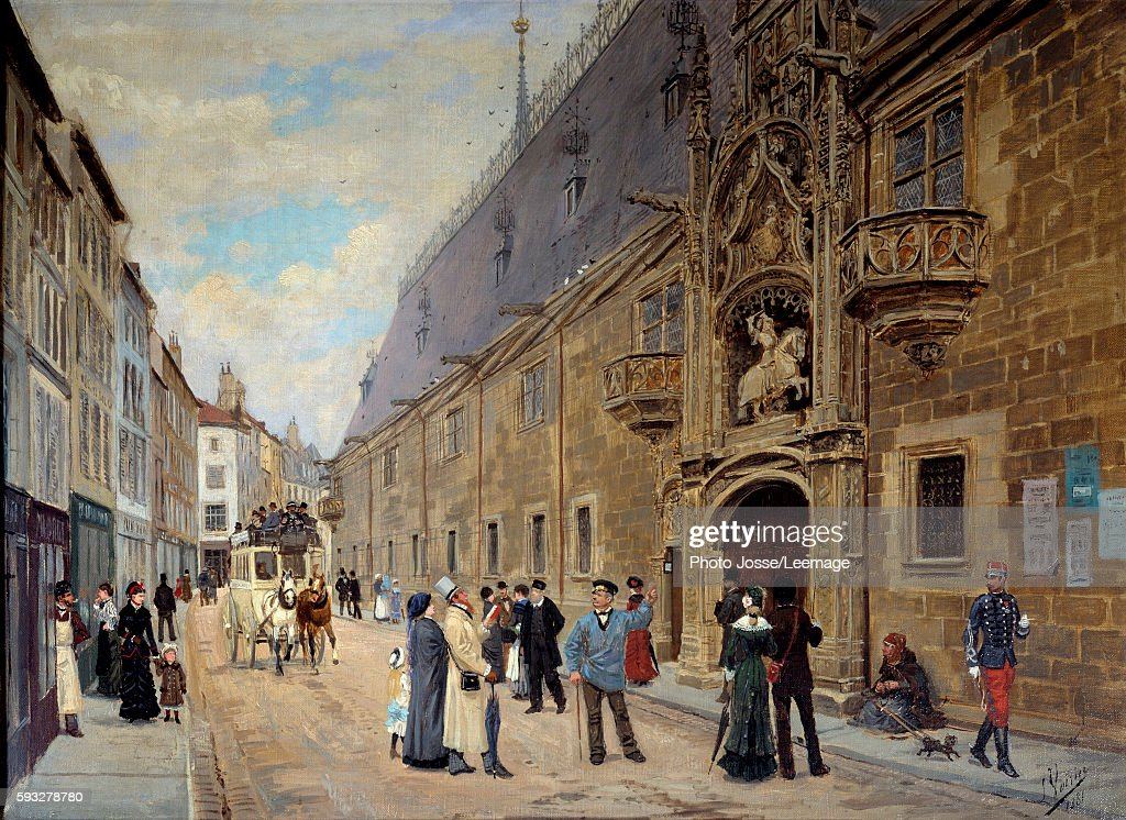 Ducal Palace of Nancy in restoration Painting by Leon Joseph Voirin 1881 Lorraine Historical Museum Nancy France
