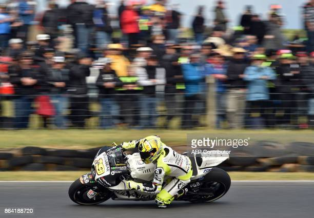 Ducati Aspar rider Alvaro Bautista of Spain powers his machine during the qualifying session of the Australian MotoGP Grand Prix at Phillip Island on...