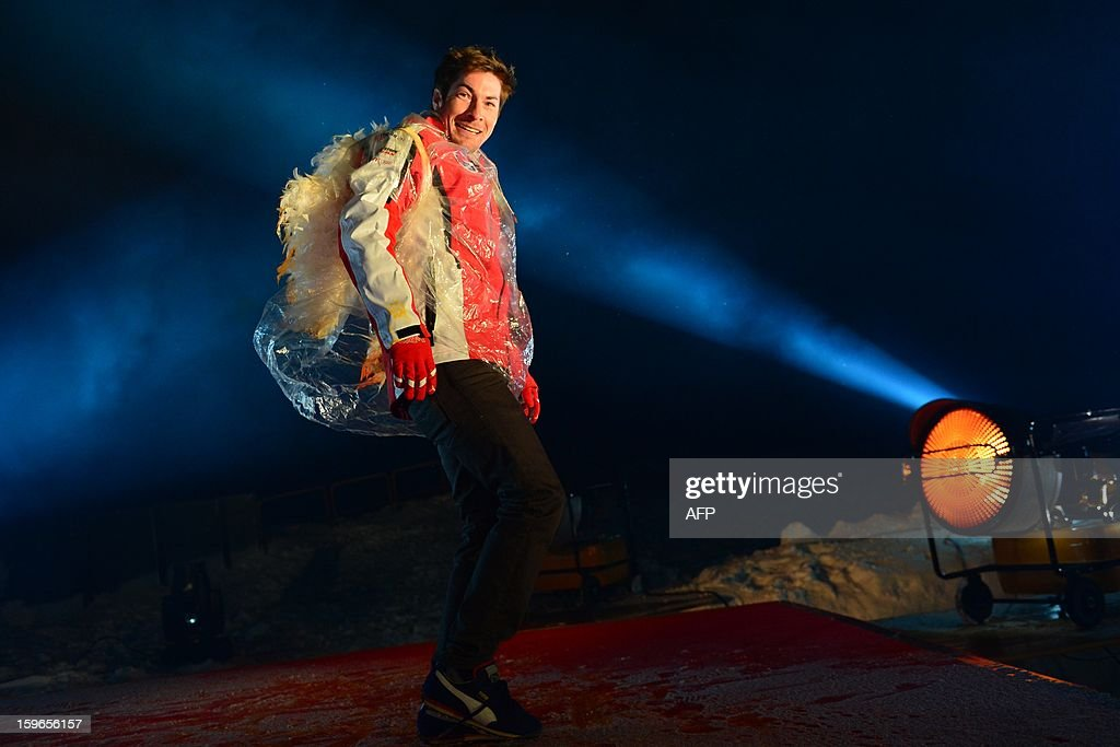 Ducati Driver Nicky Hayden performs on stage during a show at the Wrooom, F1 and MotoGP press ski meeting, Ducati and Ferrari's annual media gathering on January 17, 2013 in Madonna di Campiglio. AFP PHOTO / GIUSEPPE CACACE