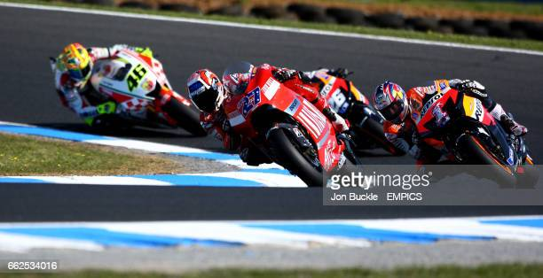 Ducati Marlboro's Casey Stoner leads the Australian Moto Grand Prix with Nicky HaydenDaniel Pedrosa and Valentino Rossi in close pursuit