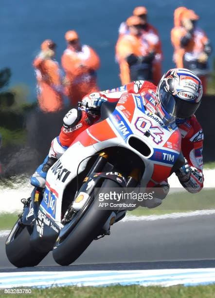 Ducati rider Andrea Dovizioso of Italy competes during the first practice session of the Australian MotoGP Grand Prix at Phillip Island on October 20...