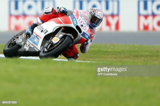 Ducati rider Andrea Dovizioso of Italy powers his machine during the third practice session of the Australian MotoGP Grand Prix at Phillip Island on...