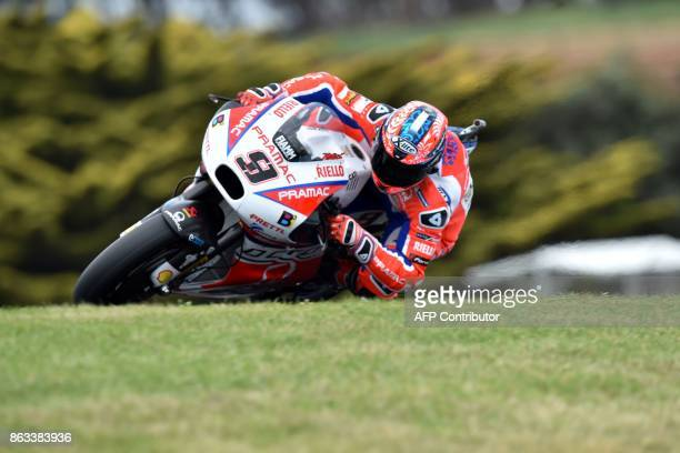 Ducati rider Danilo Petrucci of Italy powers his machine during the second practice session of the Australian MotoGP Grand Prix at Phillip Island on...