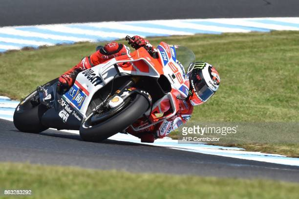 Ducati rider Jorge Lorenzo of Spain competes during the first practice session of the Australian MotoGP Grand Prix at Phillip Island on October 20...