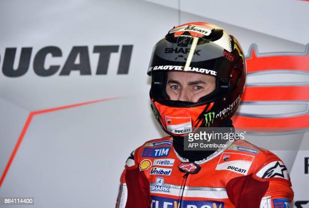 Ducati rider Jorge Lorenzo of Spain gets ready to ride during the third practice session of the Australian MotoGP Grand Prix at Phillip Island on...