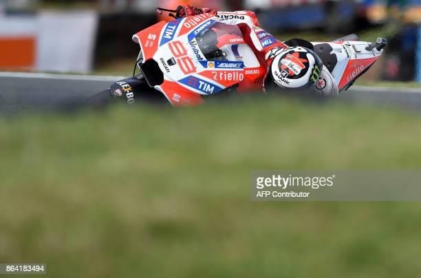 Ducati rider Jorge Lorenzo of Spain negotiates a corner during the qualifying session of the Australian MotoGP Grand Prix at Phillip Island on...