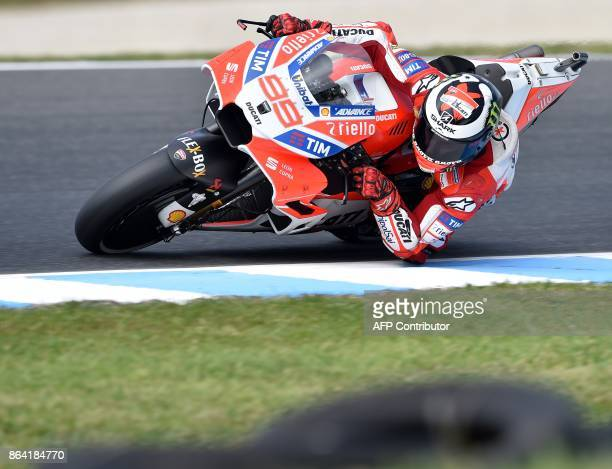 Ducati rider Jorge Lorenzo of Spain powers his machine during the qualifying session of the Australian MotoGP Grand Prix at Phillip Island on October...