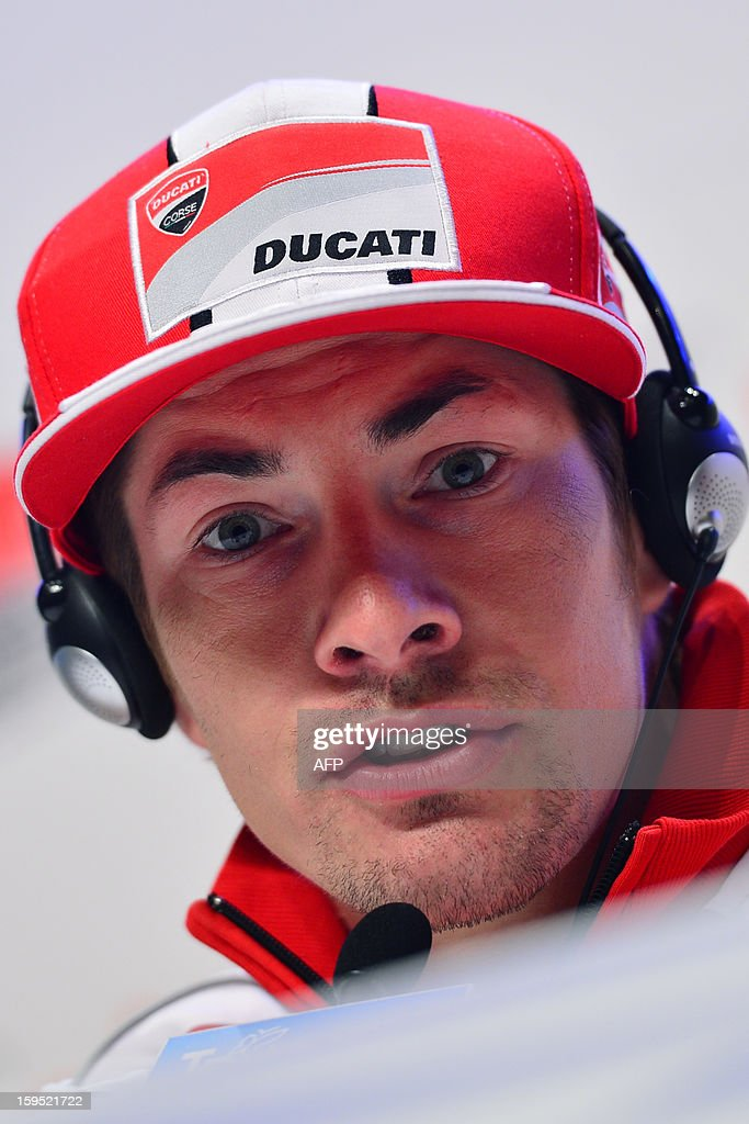 Ducati rider Nicky Hayden of the US gestures during a press conference as part of Wrooom, F1 and MotoGP Press Ski Meeting, Ducati and Ferrari's annual media gathering, in Madonna di Campiglio, on January 15, 2013.