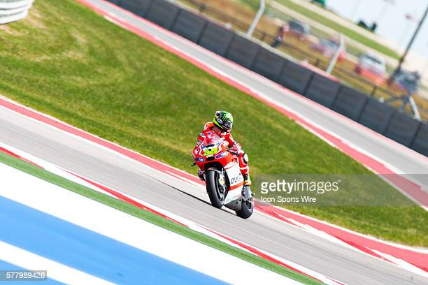 Ducati Team driver Cal Crutchlow of Great Britain on turn turn18 looks back at other drivers during practice runs at the Circuit of the Americas in...