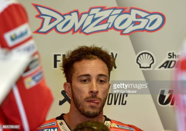 Ducati Team rider Andrea Dovizioso of Italy finishes the first practice session of the Australian MotoGP Grand Prix at Phillip Island on October 20...
