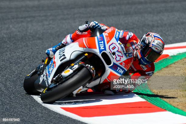 Ducati Team's Italian rider Andrea Dovizioso competes during the MotoGP qualifying session of the Moto Grand Prix de Catalunya at the Circuit de...