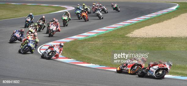 Ducati Team's Spanish rider Jorge Lorenzo leads the pack during the MotoGP event of the Grand Prix of the Czech Republic in Brno on August 6 2017 /...