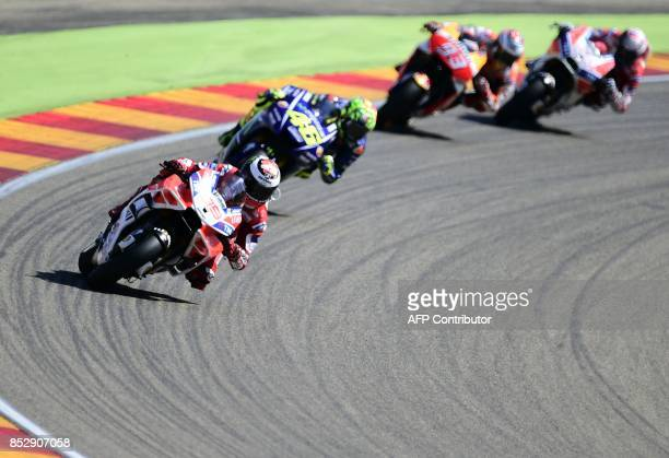 TOPSHOT Ducati Team's Spanish rider Jorge Lorenzo leadsthe MotoGP race of the Moto Grand Prix of Aragon at the Motorland circuit in Alcaniz on...