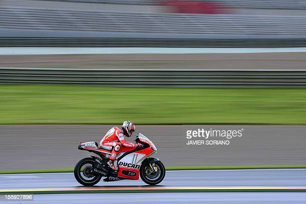 Ducati Team's US rider Nicky Hayden takes part in a MotoGP training session at Ricardo Tormo racetrack in Cheste near Valencia on November 9 2012 AFP...