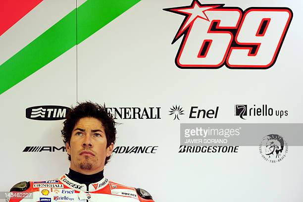 Ducati Team's US rider Nicky Hayden waits to take part in the MotoGP free practice session one of the Spanish Grand Prix at the Jerez racetrack in...