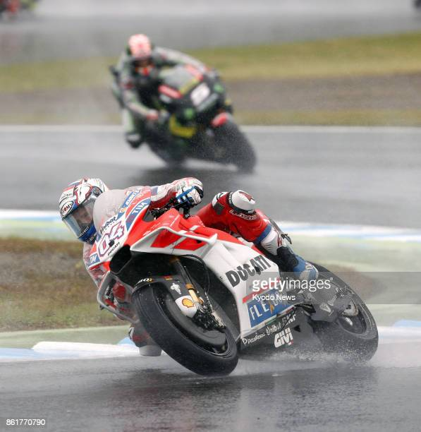 Ducati's Andrea Dovizioso is seen en route to winning the Japanese Grand Prix at Motegi Twin Ring in Tochigi Prefecture north of Tokyo on Oct 15 2017...
