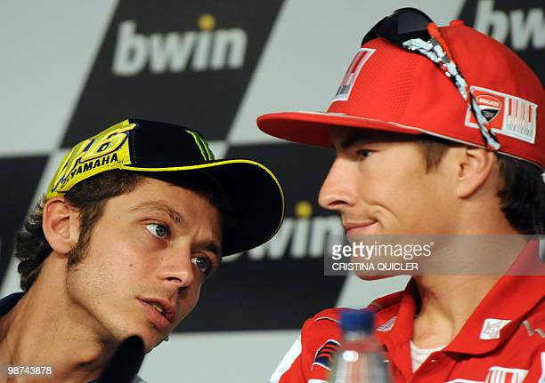 Ducati's US rider Nicky Hayden and Yamaha's Valentino Rossi gestures during a press conference at Jerez de la Frontera's circuit on April 29 2010 The...