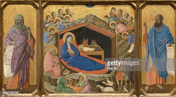 Duccio di Buoninsegna Nativity with the Prophets Isaiah and Ezekiel 130811 tempera on panel 48 x 87 cm National Gallery of Art Washington DC