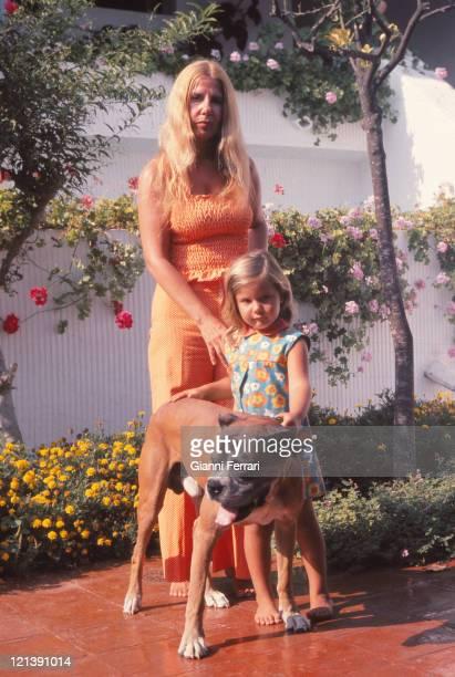 Duchess Cayetana of Alba of Alba in the 'Palacio de las Duenas' with her daughter Eugenia XI Duchess of Montoro 1973 Sevilla Spain