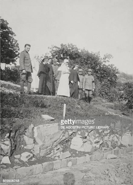 Duchess Elena d'Aosta visiting the VI Army surgical ambulance Italy World War I from L'Illustrazione Italiana Year XLIV No 29 July 22 1917