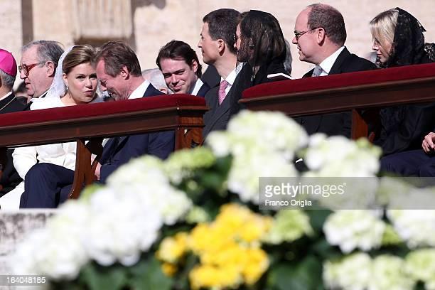 Duchess Maria Teresa of Luxembourg Grand Duke Henri of Luxembourg and their son Prince Felix Prince Albert II of Monaco and Princess Charlene of...